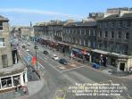A partial view from the sitting room window showing some of the Lothian Road local area.