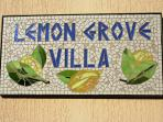 Lemon Grove Villa sign.