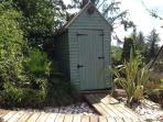 The wonky blue shed!
