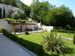 Barbeque terrace and landscaped gardens