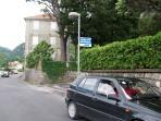 Signpost to Kotor View Apartments from coastal road