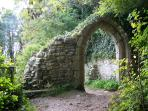 Ancient St Andrews church ruins & 'Pirates Grave' in the woods above the sea close by