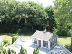 Backyard,huge lower deck  with 'Wicker House' (screened in porch)