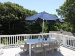 Large upper deck with plenty of outdoor seating- with separate sauna, shower and bath