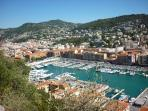 Castle Hill: looking into Nice Harbour and Mont Boron