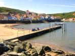 Staithes beach and harbour