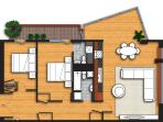 Floorplan: Huge 2bed/T2 flat/apartment. 1,000 square foot.