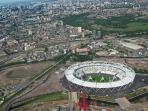 Olympic Stadium showing City of London. Ironworks highlighted in red.