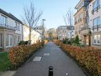 Landscaped development where the apartment is located..