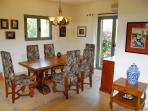 Big Dining Area with Antique Oak and Olive Table and Chairs