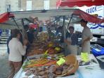 La Chatre Saturday market (5-10minutes walk)
