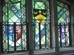 Raven Wing stained glass window