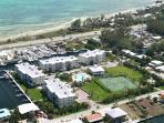 The resort from the air. Bonefish Flat, sea Oats beach across the street