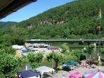 View from lounge window: Summer festival at the banks of Elsenz and Neckar