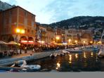 Villefranche front restaurants evening