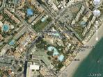 situation of the apartment relative ot the swimming pool, beach and our office on the corner