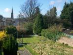 View from your Kirkcaldy Holiday Home over Gardens to St Brycedale Kirk