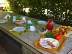 The breakfast in the  barbecue garden