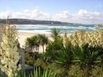 A view from Lizard Chalet onto St. Ives Bay