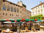 Market town of Figeac only 10 mins away to the East