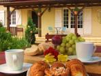 Breakfast on the decking..