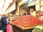 Strawberries for sale in the Machane Yehuda market just behind your building!