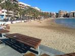 Beautiful sandy blue flag beach for all the family