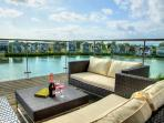 Chillax area – located on the top terrace, complete with John Lewis sofas  simply beautiful sunsets!