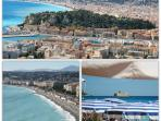 Views over the port, Promenade des Anglais in Nice and beach in Nice.
