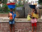 Girls in Mindelo selling fruit & veg