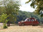 Forest of the regional park behind us & our friends 2CV!
