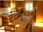 8 seater dining table and kitchen