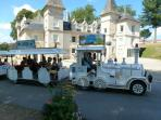 Tourist Train at Lac de Vassiviere, on the island with Art Gallery and Restaurant. Free taxi-boats.