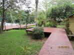 raised walkway/ garden areas