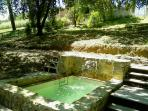 The Stone basin mini pool with water massage heated in winter