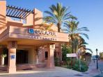 the entrance of Aparthotel Mar Azul
