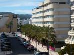 Street view, Gran Hotel background & Pacha Hotel on the right