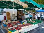 The lively market in Quillan