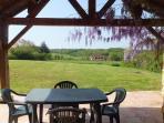 Verandah view and wisteria