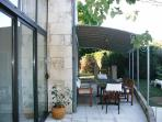Covered terrace from kitchen french sliding door