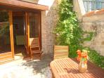 Sunny courtyard and garden with loungers so you can soak it up.