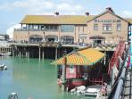 The West Quay and floating Chinese restaurant at Brighton Marina