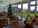 wonderful conservatory on a winters day at christmas time