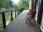 Decking area overlooking the River Wear and Elvet Bridge