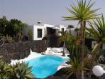 Casa Teiga view of Casita Sol, garden and pool