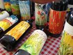 Frescoed wine bottles