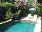 3m waterfall at deep end of pool