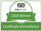 Pleased to be awarded a 2014 award from Trip Advisor to be framed shortly at the apartment.