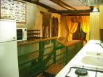 Indoor fishing in the fitted kitchen in the original mill race