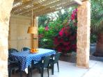 Outside dinning room provides shade all of the day